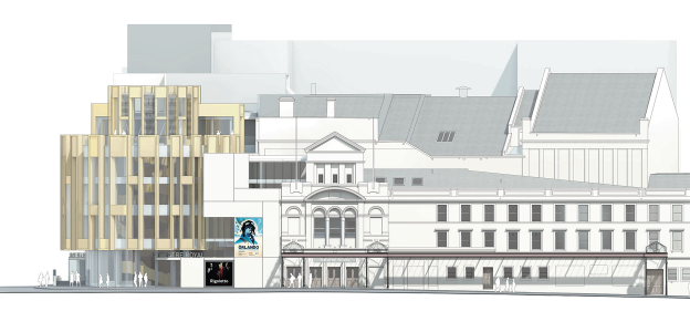 Architect's drawing of Theatre Royal Glasgow from Hope Street.