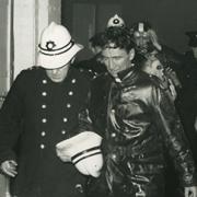 Unknown fireman attending the STV fire, 1969