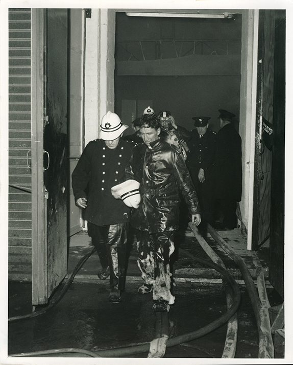 Unknown fireman attending the STV fire, 1969